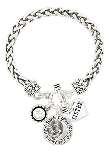 Love Link Chain (Haute Jewelry Concepts Silver-Plated Braided Link Chain Charm Bracelet