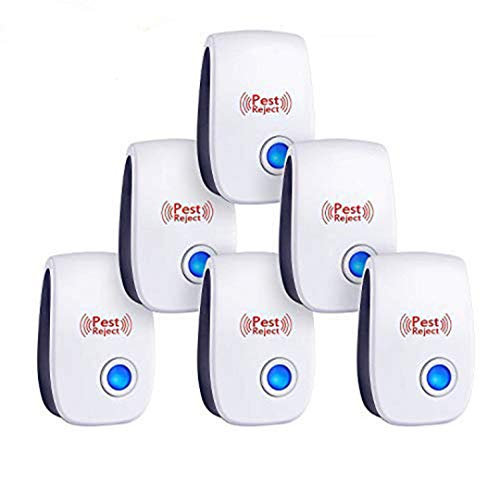 2019 Upgrated Ultrasonic Pest Repeller 6 Pack, Pest Control Ultrasonic Repellent, Electronic Insects & Rodents Repellent for Mosquito, Mouse, Cockroaches,Rats,Bug, Spider, Ant ()
