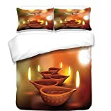 Difference Between Cal King and Eastern King 3Pcs Duvet Cover Set,Diwali,Eastern Religious Celebration with Best Wishes Happy Diwali Festive Spiritual Art Print,Brown,Best Bedding Gifts for Family/Friends