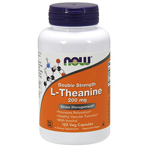 NOW® Foods L-Theanine, 200 mg, 120 Veg - Healing Caffeine Free Formula