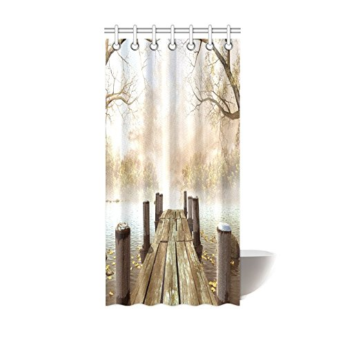 INTERESTPRINT Decor Fall Trees Wooden Bridge Foggy Lake Nature Country Rustic Home Art Paintings Pictures for Bathroom Seascape Decorations Shower Curtain 36 X 72 Inches, Brown Beige Khaki Yellow