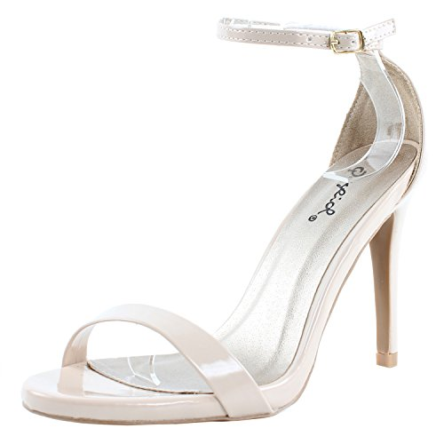 Qupid Grammy-01 Sandals Nude Patent 7.5
