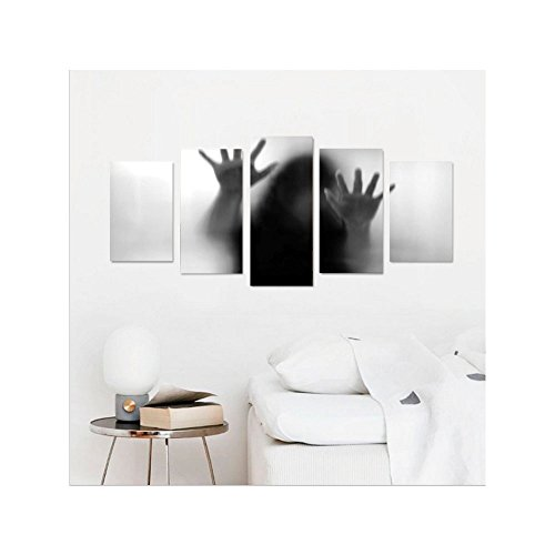 Liguo88 Custom canvas Horror House Decor Silhouette of Woman behind the Veil Scared to Death Obscured Paranormal Photo Wall Hanging for Bedroom Living Room Gray by Liguo88