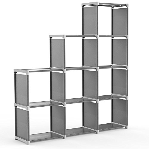 Jollyoner 4-tier Storage Cube Closet Organizer Shelf, DIY 9-cube Bookcase Cabinet without Doors for Bedroom, Living Room and Office (Gray, 9-cube) by Jollyoner