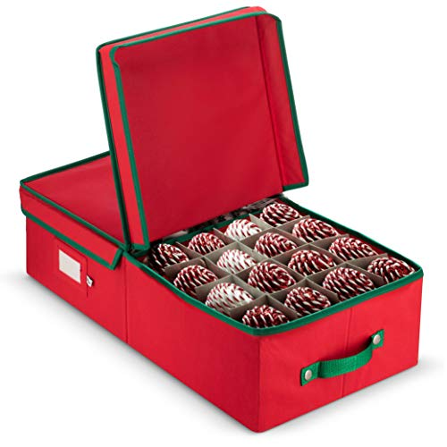 ZOBER Underbed Christmas Ornament Storage Box with Lide - Stores up to 64 Standard Christmas Ornaments, and Xmas Holiday Accessories Storage Container with Dividers
