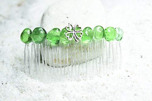 Irish Shamrock Green Obsidian Hair Comb QTY 1