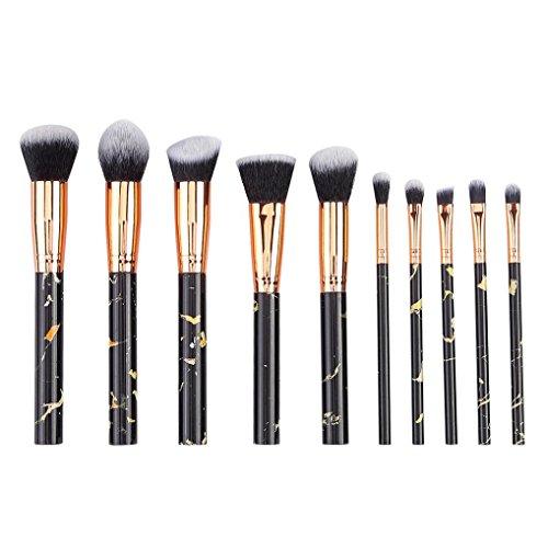 Honhui 10 marble black pattern handles Blush Eyeshadow Face Foundation Eyebrow Cosmetics Brush Kit (Black)