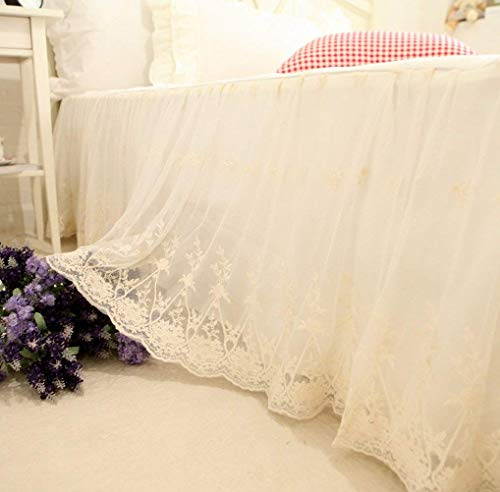 Brandream Full Size Luxury White Lace Bed Skirt Romantic Girls Bed Sheets Elegant Teen Skirted Sheet