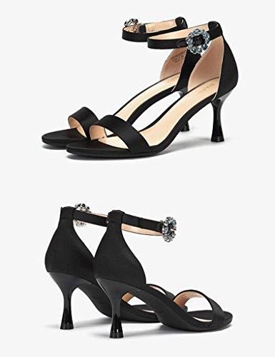 Chaussures De Haute Zcjb Chaussures À Bout Ouvert Talon Mot Été Fine Ceinture Talons Sandales Pure Mode Couleur Pour Les Femmes (couleur: Noir, Taille: 37) Noir