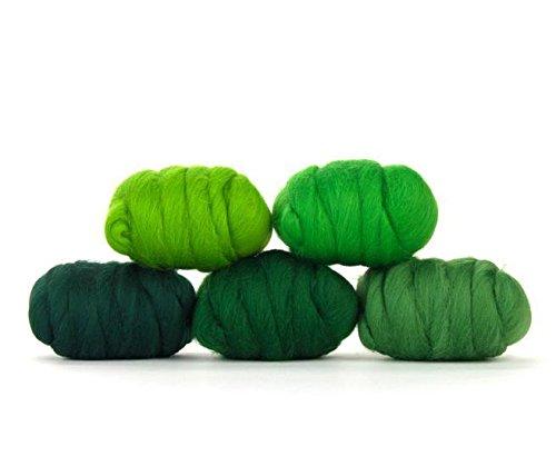 Paradise Fibers Mixed Merino Wool Bag - Grand Green - Merino Wool Fiber Lot Perfect for Needle Felting, Wet Felting, Hand Spinning, and Blending ()