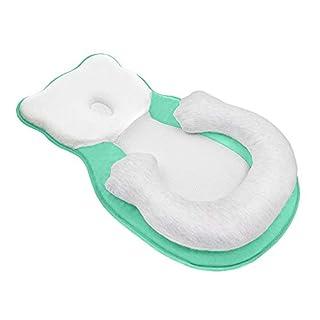 Unisex Infant Support Newborn Lounger Pillow Cute Bear Comfort Newborn Baby Nest Portable Snuggle Bed Mattress Prevent Flat Head Pillow Head Support for 0-6M Newborn Infant Green