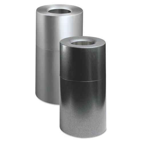 Rubbermaid Commercial Atrium Aluminum Radius Top Waste Container, Round, 35 gal, Hammered Silver - one waste (Atrium Waste Container)