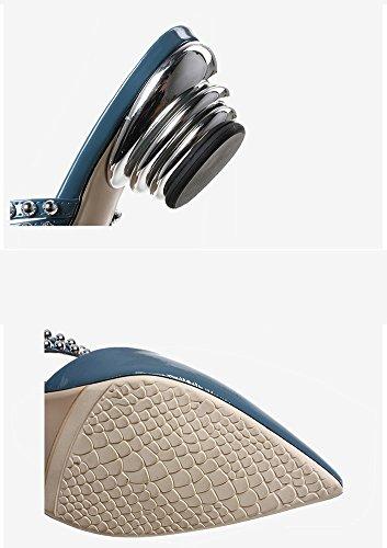 Pelle Esterna Strass 38 Blu Smerigliato Mezze Medio Colore Estive Sandali ZCJB Usura In Con Moda Blu Tacco Pantofole Spesso dimensioni Blu wzqR0HX