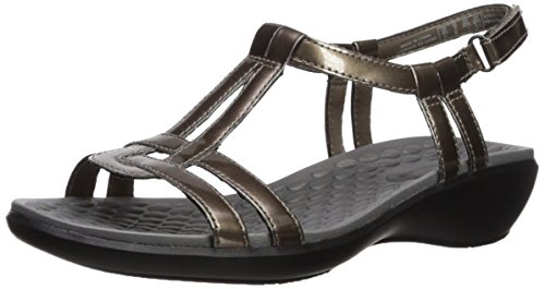 Clarks Women's Sonar Aster Sandal Pewter Synthetic Patent iKS00hKU