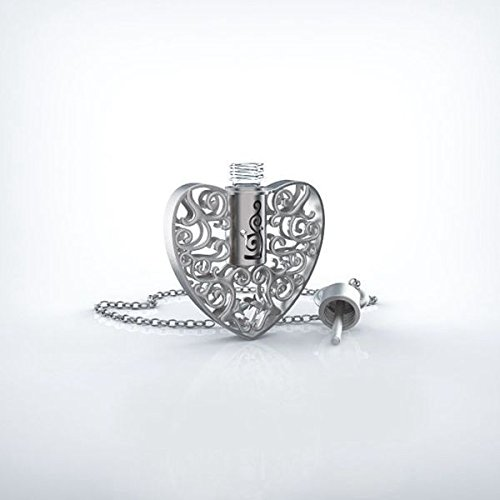 Stunning Aromatherapy Perfume Pendant by Grand Parfums with Necklace and Glass Vial, Filigree Design (Heart, Silver)