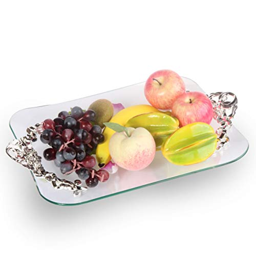 Fruit Bowls Fruit Tray Tempered Glass Rose Binaural Square Family Utility Fruit Plate Large -022 (Rose Vegetable Square Bowl)