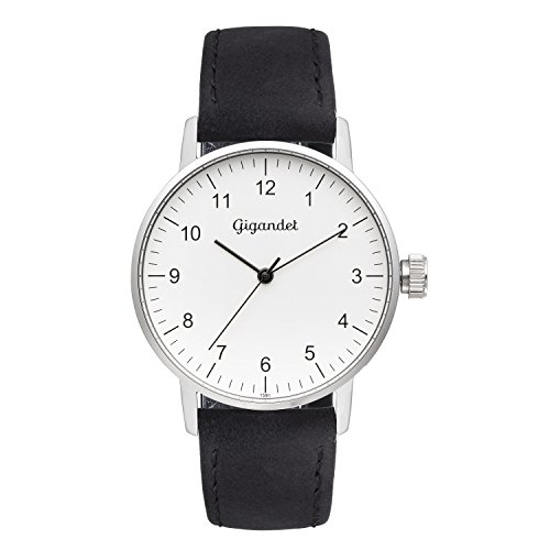 Gigandet Women's Quartz Watch Minimalism Analog Leather Strap Silver Black G27-001