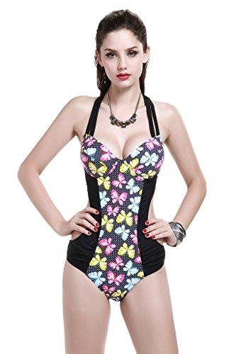 Le Besi Mujer Fashion One Piece, diseño elegante inspirado Monokini negro