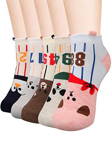Ankle Socks for Teen Girls Women Funny No Show Novelty Sock Girl Low Cute Fun Animal Cartoon Socks, 5 Pack, Cotton & Bamboo