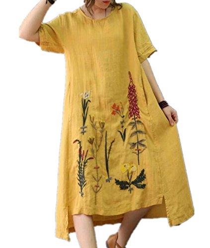 YESNO Y47 Women Long Loose Maxi Dress A Skirt Handcraft Embroidery Asymmetric Hemline Pocket