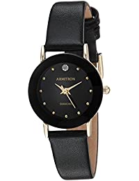 Women's 75/2447BLK Diamond-Accented Watch with Black Leather Band