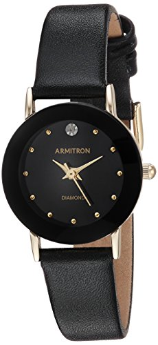 (Armitron Women's 75/2447BLK Diamond-Accented Watch with Black Leather Band)