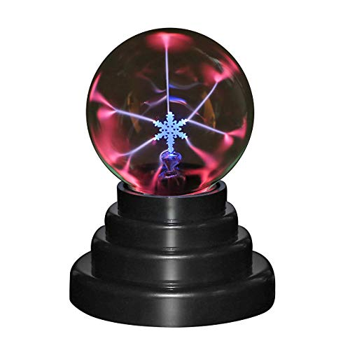 CozyCabin Snowflake Plasma Ball Light, Magic Thunder Lightning Plug-In Touch Sensitive - USB Powered For Parties, Decorations, Kids, Bedroom, Home, Gifts