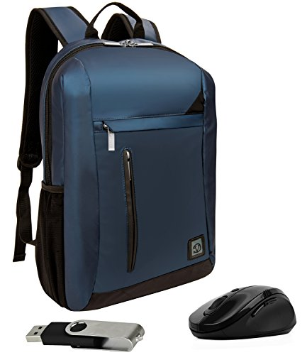 VanGoddy Adler Navy Blue Laptop Backpack for MSI GT Series / Prestige / Dominator / Stealth / Phantom / Apache / Mobile Workstation / Up to 15.6in + Wireless Mouse and Flash Drive