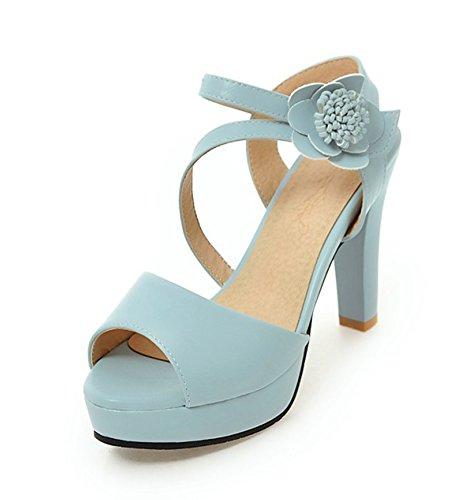 Blau Blumen Klettverschluss Offene Sandale mit Trichterabsatz Damen Plateau Kunstleder Zehen Aisun wqB64cn