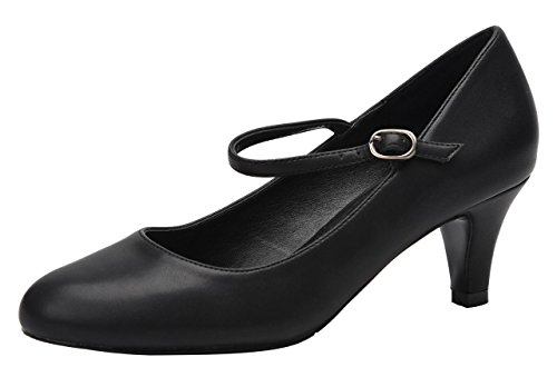 CAMSSOO Women's Closed Toe Low Mid Heel Ankle Strap Dress Pump Shoes Black Matt Soft PU Size US7 EU37