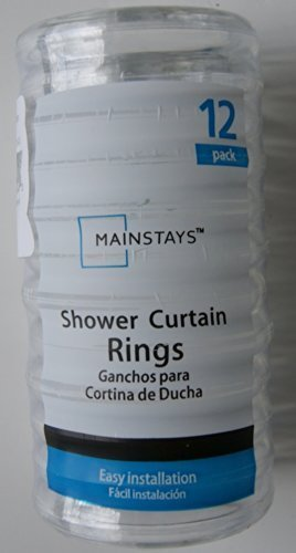 Basic Plastic Shower Curtain Rings - Clear - 12pk