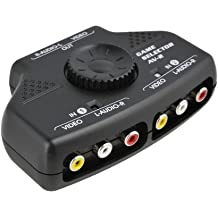 Optimal Shop- 2 Way Audio Video Switch Selector Box Splitter with RCA Cable for VCD / DVD / Video Camera / Recorder / Video Game