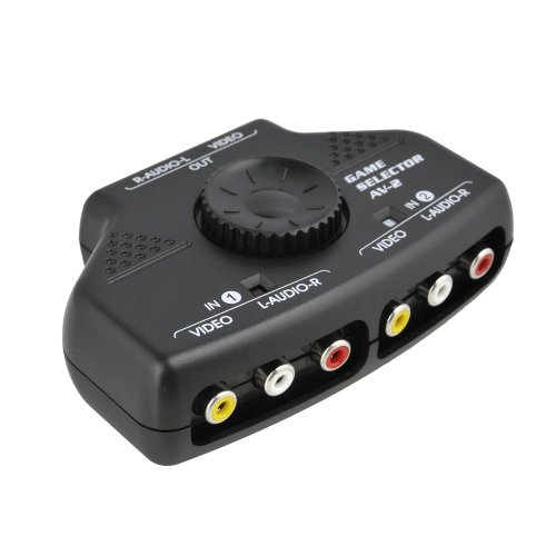 Optimal Shop- 2 Way Audio Video Switch Selector Box Splitter with RCA Cable for VCD/DVD/Video Camera/Recorder/Video Game