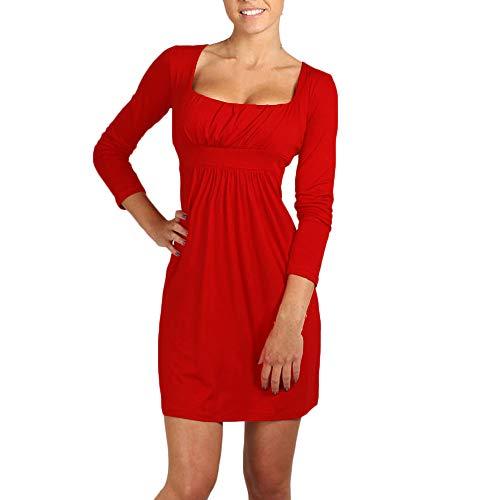 HITRAS Fashion Dress!Sexy Women Girl Mini Dress - Square Neck Tunic Long Sleeve fold Dress