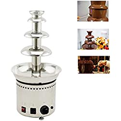 Denshine Commercial 4-Tier Electric Chocolate Fondue Fountain Stainless Steel Chocolate Fountain for Home Party Wedding Restaurant 6.6lb Capacity 110V