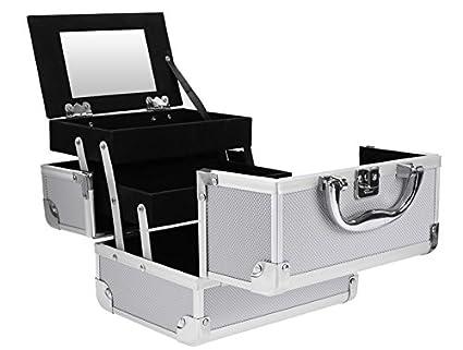 Pro Aluminum Rolling Makeup Case Salon Cosmetic Box Organizer Trolley Beauty Train Case, Silver Tomasar