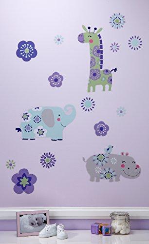 Carter's Zoo Jungle/Safari Floral Wall Decals, Lavender/Aqua/Green ()