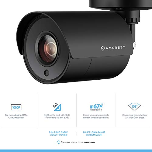 Amcrest 4CH Security Camera System Full 1080P HD-CVI Video DVR with 4X  1920TVL 2MP 1080P Indoor Outdoor Weatherproof IP67 Cameras, 1TB Hard Drive,