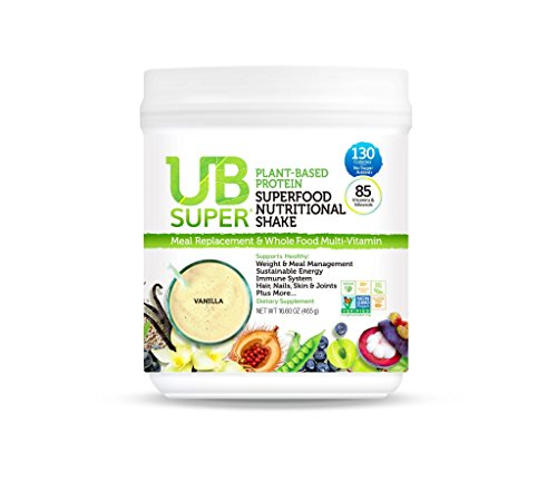 UB Super - Meal Replacement - Protein Superfood Nutritional Shake - Vegan, Gluten Free, Non GMO, No Added Sugar, Nutrient Rich - Dietary Supplement (Vanilla, Plant-Based)