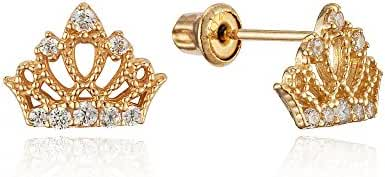 14k Yellow Gold Princess Crown Cubic Zirconia Children Screwback Baby Girls Stud Earrings