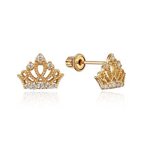 14k Yellow Gold Princess Crown Cubic Zirconia Children Screwback Baby Girls Stud Earrings 14k Yellow Gold Baby Earrings