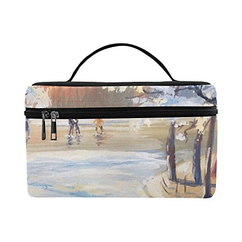 Gouache Painting Winter Landscape Snowy Trees Lunch Box Tote Bag Lunch Holder Insulated Lunch Cooler Bag For Women/men/picnic/boating/beach/fishing/school/work