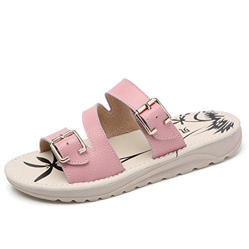 Verano zapatos flat-bottom/Zapatillas de cuero de uso extranjero C
