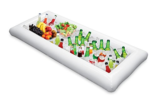 Inflatable Serving Bar Buffet Salad Food & Drink Tray,Portable Salad Bar for Football Parties, Pool Parties, BBQ,Tailgates and (Plastic Football Trays)