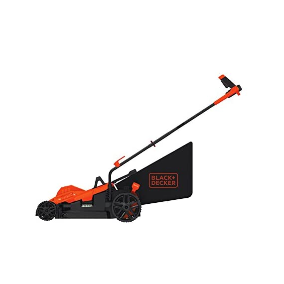 BLACK+DECKER Electric Lawn Mower, 10 -Amp, 15-Inch (BEMW472BH) 4 IMPROVED ERGONOMICS: Comfort grip handle makes the lawn mower easy to maneuver BETTER CLIPPING COLLECTION: Our winged blade achieves 30% better clipping collection NO MORE PULL CORDS: Push-button start makes starting the lawn mower a breeze