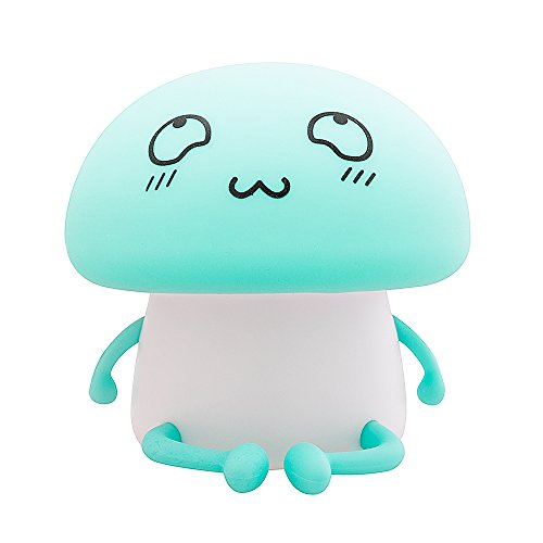 MagXanadu Novelty Silicon Emoji Mushroom Led Touch Nightlight Rechargeable Sensitive Cute Desk Room Lamp for Baby, Children,Toddlers or Nursery Bedroom Children Gift (Green) For Sale