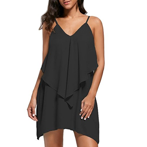 ?Mode Femmes Sans Manches Overlay Flowy Ruffles V-cou Solide Camis Mini Dress Tefamore Noir