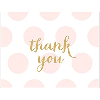 50 Cnt Pink Polka Dots Gold Baby Shower Thank You Cards