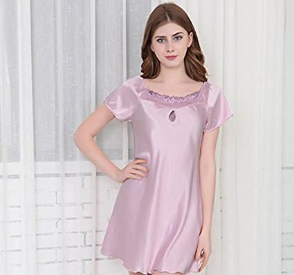 Amazon.com: LJ&L High - quality spinning silk pajamas summer silk home short - sleeved sleep skirt / thin section of the bath skirt,pink,S: Home & Kitchen