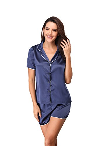 Silk Robe Drawstring (Memory baby Women's Sleepwear Satin Short Sleeve Button-up Top Pants Pajama Set Blue S)